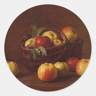 Manzanas de Enrique Fantin-Latour- en una cesta en Etiquetas