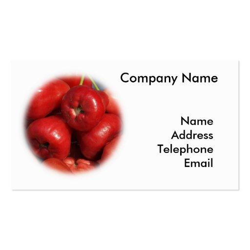 Manzanas de la cera o frutas rojas brillantes tarjetas de visita