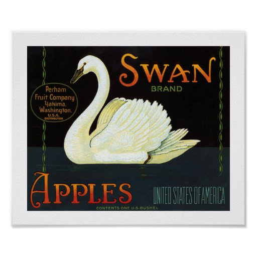 Manzanas de la marca del cisne impresiones
