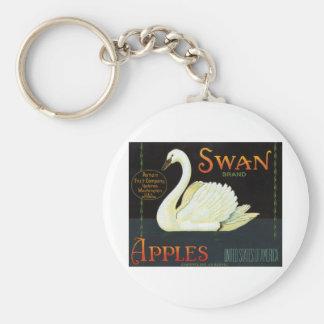 Manzanas de la marca del cisne llavero personalizado