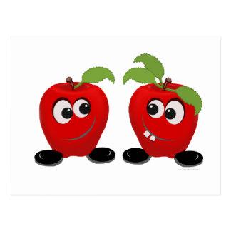 Manzanas de los mejores amigos tarjeta postal