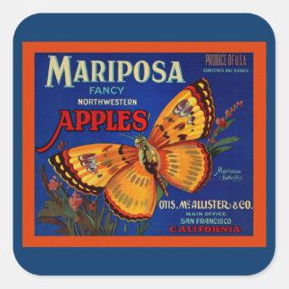 Manzanas de Mariposa Pegatina Cuadrada