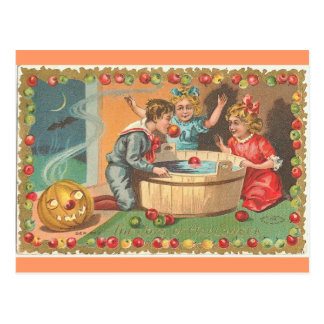 manzanas de meneo de los niños, frontera de la tarjeta postal