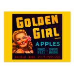 Manzanas de oro de la marca del chica - etiqueta d postales