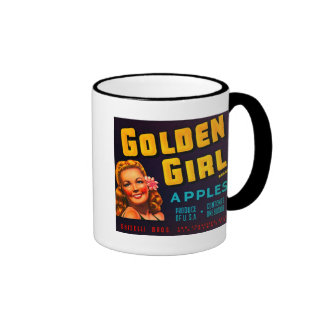 Manzanas de oro de la marca del chica - etiqueta d taza