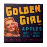 Manzanas de oro del chica azulejo cuadrado pequeño