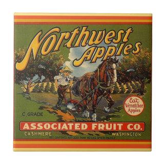 Manzanas de Washington del vintage que hacen Azulejo Cuadrado Pequeño