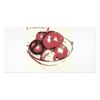 Manzanas del arte pop tarjeta con foto personalizada