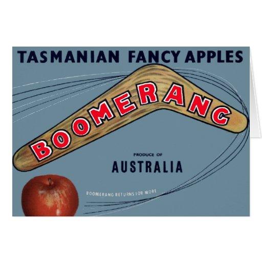 Manzanas del bumerán - etiqueta del cajón de la tarjeta de felicitación