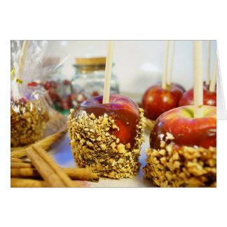 Manzanas del cacahuete del caramelo tarjeta de felicitación