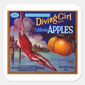 Manzanas del chica del salto pegatina cuadrada