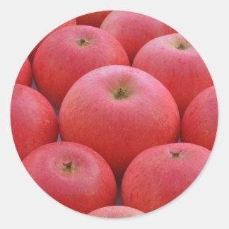 Manzanas del descubrimiento pegatina redonda