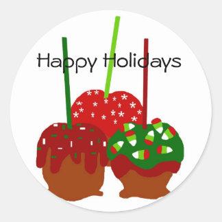 Manzanas del navidad, buenas fiestas pegatinas pegatinas redondas