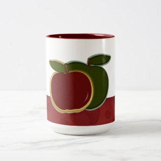Manzanas del país (frontera roja) grandes taza de dos tonos