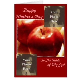 Manzanas del rojo del collage de la foto del día d tarjeta de felicitación