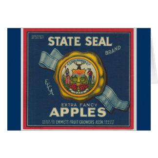Manzanas del sello del estado de Idaho Tarjeta Pequeña