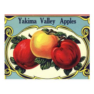 Manzanas del valle de Yakima del arte de la Tarjeta Postal