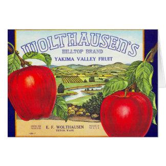 Manzanas del valle de Yakima - etiqueta del cajón Tarjeta De Felicitación