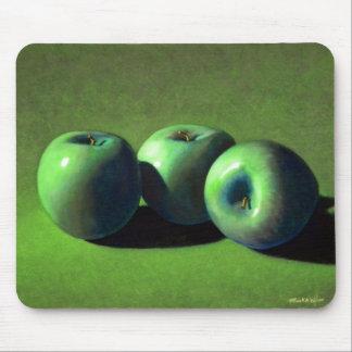 Manzanas del verde del cojín de ratón alfombrillas de raton