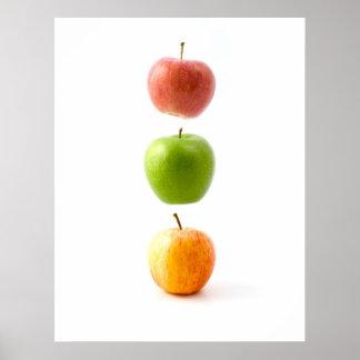 Manzanas el poster flotante prohibido del arte de