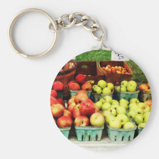 Manzanas en el mercado del granjero llavero personalizado