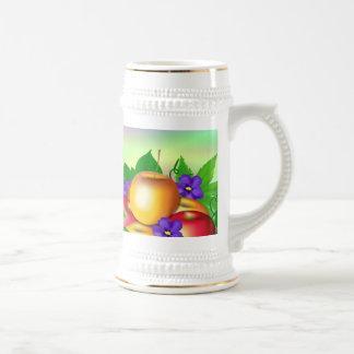 Manzanas en florero tazas