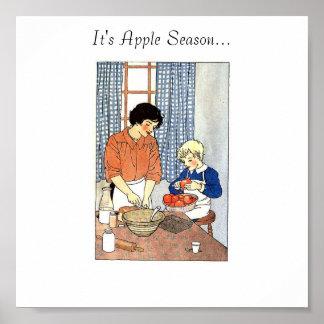 Manzanas en la cocina de gráficos de las abuelas,  póster