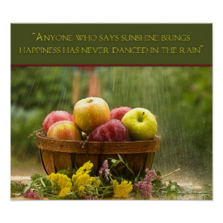 Manzanas en la lluvia - poster póster
