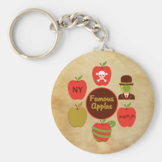 Manzanas famosas llavero redondo tipo pin