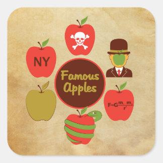 Manzanas famosas pegatina cuadrada