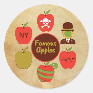 Manzanas famosas pegatina redonda