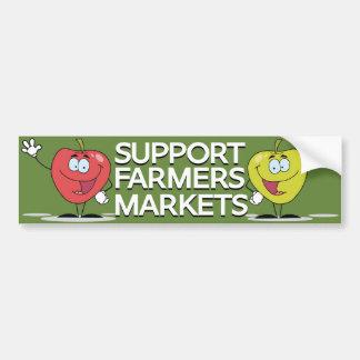 Manzanas felices de los mercados de los granjeros  pegatina de parachoque