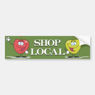 Manzanas felices locales de la tienda etiqueta de parachoque