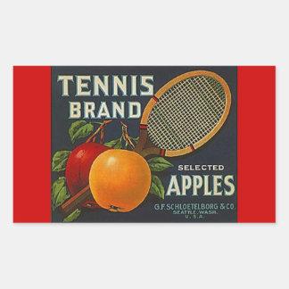 Manzanas franco de la marca del tenis de la rectangular pegatinas