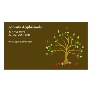 Manzanas frescas en tarjetas de visita de Brown