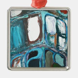 Manzanas intrépidas redondas abstractas adorno cuadrado plateado