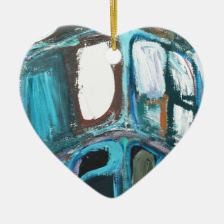 Manzanas intrépidas redondas abstractas adorno de cerámica en forma de corazón