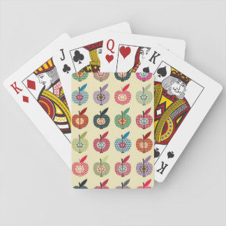 Manzanas lindas en estilo retro barajas de cartas