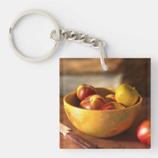Manzanas Llavero Cuadrado Acrílico A Doble Cara