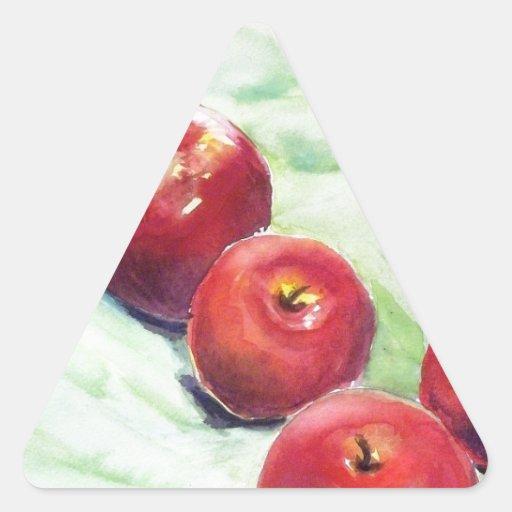 Manzanas, manzanas pegatina triangular