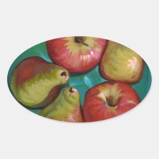 Manzanas Pegatina Ovalada