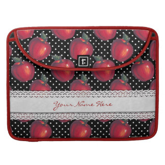 Manzanas rojas blancas en lunares negros funda para macbooks