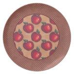 Manzanas rojas Brown de la frontera roja de los pu Plato De Comida