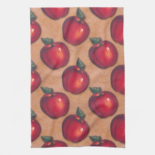 Manzanas rojas Brown Toalla De Mano