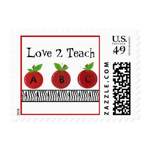 Manzanas rojas con una frontera del estampado de timbres postales