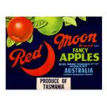 Manzanas rojas de la luna postal