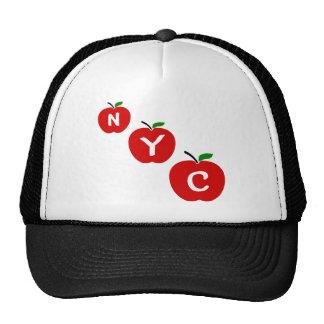 Manzanas rojas de NYC tres con el tronco y la hoja Gorros Bordados