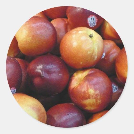 Manzanas rojas jugosas pegatinas redondas