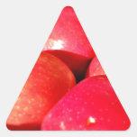 Manzanas rojas maduras pegatina triangular