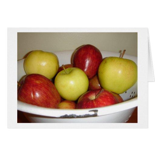 Manzanas rojas y amarillas Notecard (espacio en bl Tarjeta Pequeña